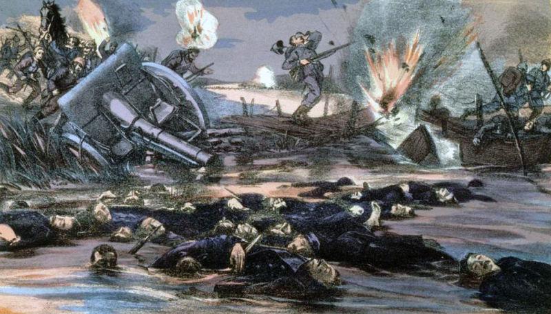 Soldaţi germani fugind din faţa trupelor belgiene în Bătălia de pe Yser - foto preluat de pe ro.wikipedia.org
