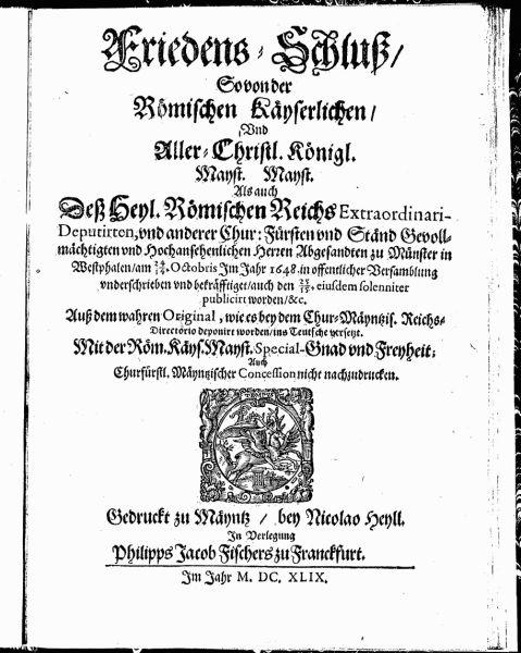 Tratatul de la Münster (24 octombrie 1648) - Versiunea germană, tipărită în 1649 - foto preluat de pe ro.wikipedia.org