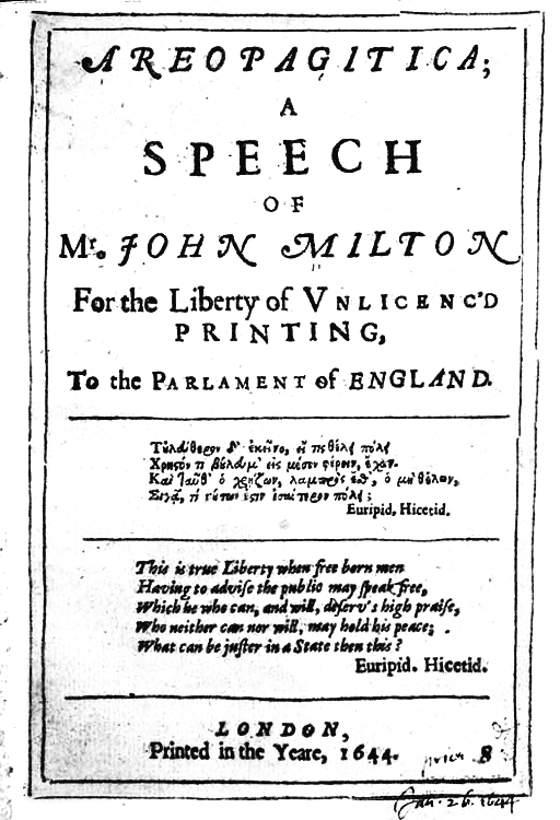 First page of Areopagitica, by John Milton (Title page circa 1644) - foto preluat de pe en.wikipedia.org