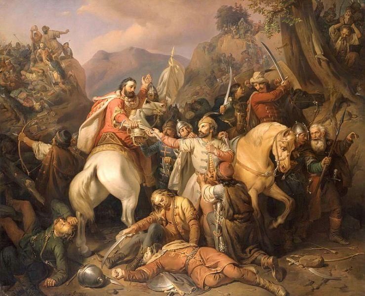 Bătălia de la Posada (9 - 12 noiembrie 1330) - Fuga lui Carol Robert, tablou de Molnár József (1855) - foto preluat de pe ro.wikipedia.org