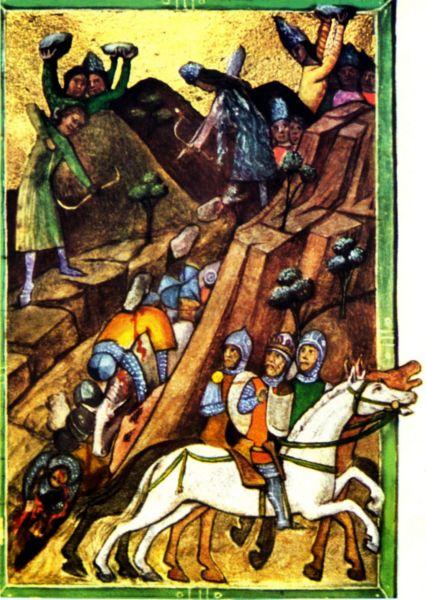 Bătălia de la Posada (9 - 12 noiembrie 1330) - Cronica pictată de la Viena  (lat. Chronicon pictum vindobonense, hu. Képes krónika) este o cronică ilustrată a Ungariei medievale, scrisă în secolul XIV - foto preluat de pe ro.wikipedia.org