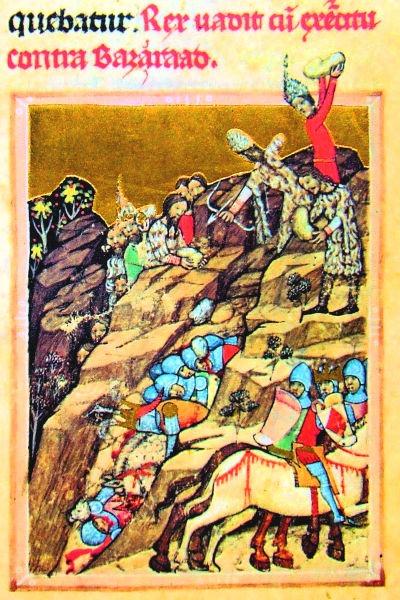 Bătălia de la Posada (9 - 12 noiembrie 1330) - Cronica pictată de la Viena   (lat. Chronicon pictum vindobonense, hu. Képes krónika) este o cronică ilustrată a Ungariei medievale, scrisă în secolul XIV - Potrivit ipotezei lui Matei Cazacu, Basarab ar putea fi personajul în verde, cu căciulă țuguiată - foto preluat de pe ro.wikipedia.org
