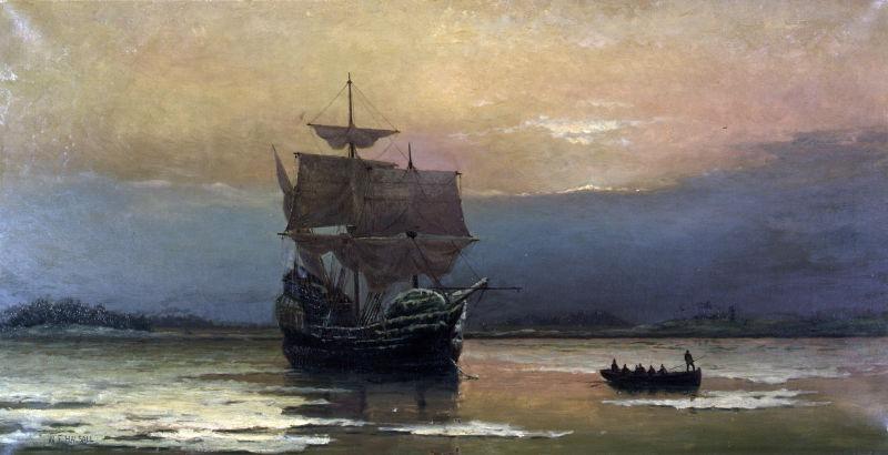 """Nava Mayflower în portul Plymouth"" de William Halsall, 1882 - foto preluat de pe ro.wikipedia.org"