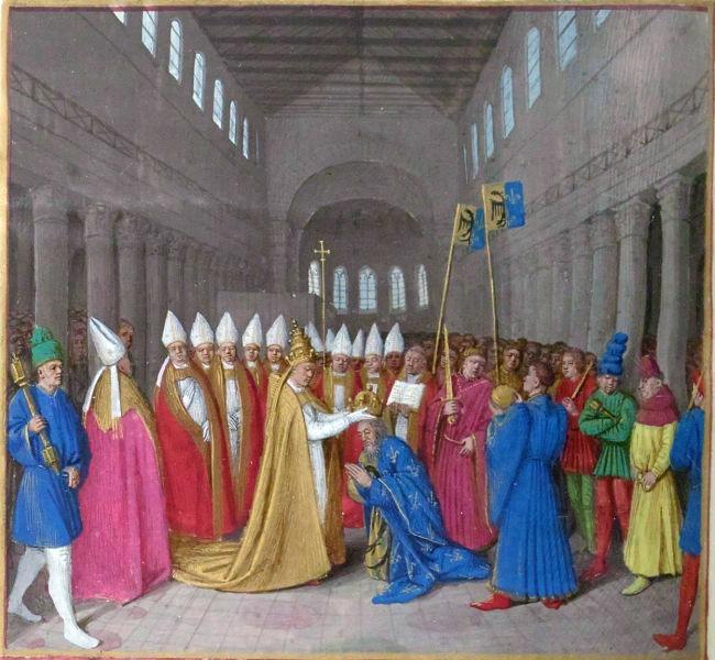 Carol cel Mare este încoronat ca Împărat al Occidentului de către Papa Leon al III-lea (25 decembrie 800) - foto preluat de pe ro.wikipedia.org