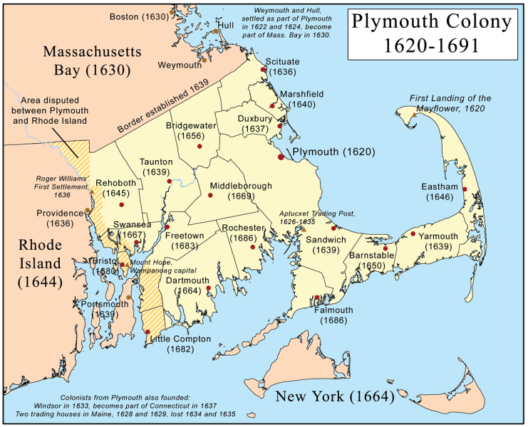 O hartă a coloniei Plymouth (1620 - 1691) cu localizarea oraşelor - foto preluat de pe ro.wikipedia.org
