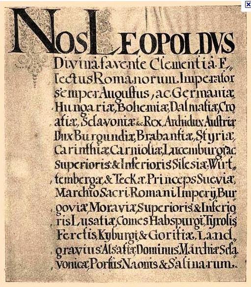 Diploma leopoldină din 1691 - foto preluat de pe ro.wikipedia.org