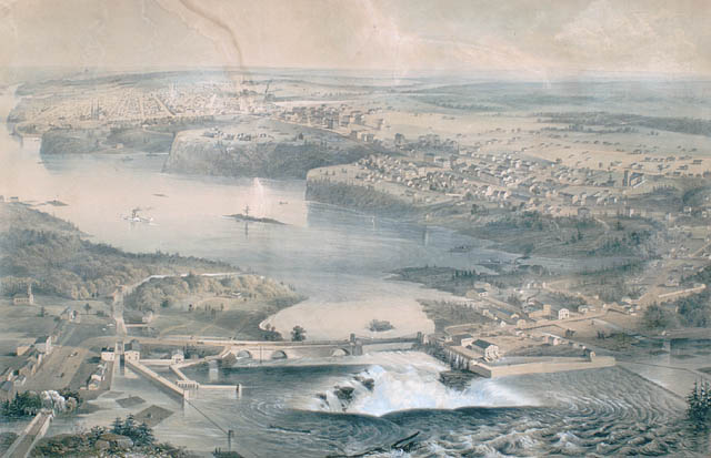 View of Ottawa in 1859, prior to the start of construction on Parliament Hill. Two years prior, Queen Victoria selected the city as the permanent capital of the Province of Canada - foto preluat de pe en.wikipedia.org