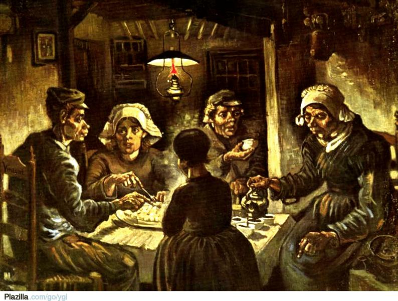 """""""Mâncătorii de cartofi"""" (1885) - Vincent Van Gogh - foto preluat de pe ro.wikipedia.org"""