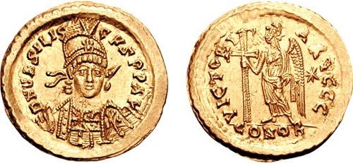 Solidus cu chipul lui Basiliskos în cinstea devenirii sale împărat - foto preluat de pe ro.wikipedia.org