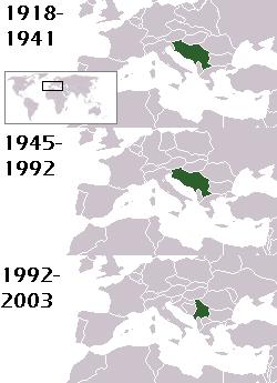 Localizarea generală a entităţilor politice cunoscute sub numele de Iugoslavia. Graniţele exacte s-au schimbat pe parcursul anilor - foto preluat de pe ro.wikipedia.org