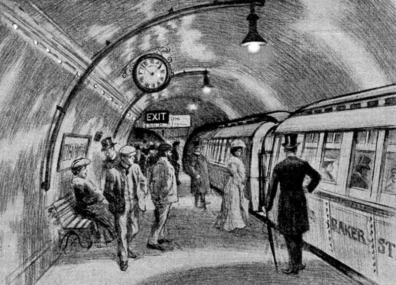 London Underground - Passengers wait to board a tube train in 1906 - foto preluat de pe en.wikipedia.org