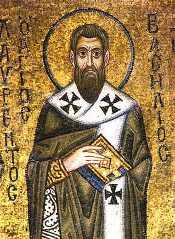 """Sfântul Vasile cel Mare (330-379) a fost un mare Sfânt Părinte al Bisericii Răsăritene, arhiepiscop al Cezareei Capadociei, teolog și autor de scrieri ascetice. Este unul din Sfinții Trei Ierarhi, împreună cu Ioan Gură de Aur și Grigorie de Nazianz (""""Teologul""""). Prăznuirea lui se face în ziua de 1 ianuarie și la 30 ianuarie (prăznuirea împreună a Sfinților Trei Ierarhi) - (Icon of St. Basil the Great from the St. Sophia Cathedral of Kiev) foto preluat de pe en.wikipedia.org"""