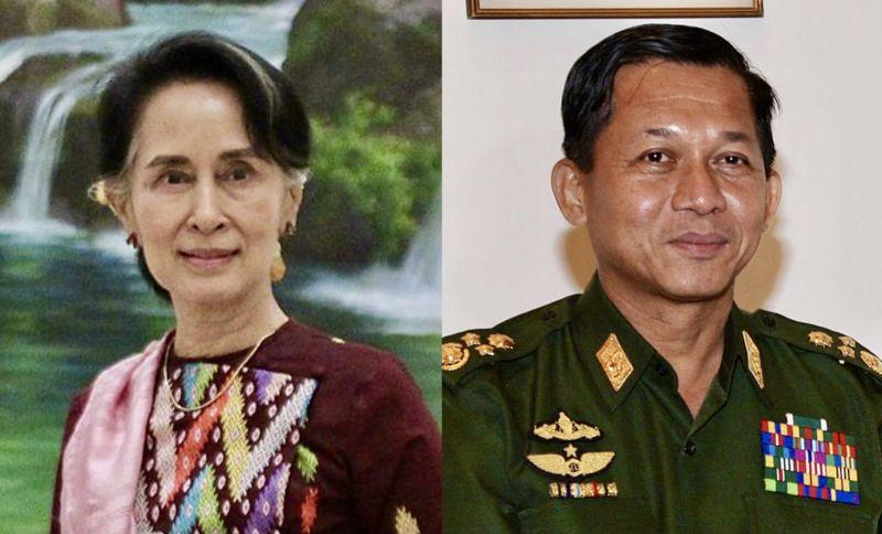 Consiliera de stat destiuta din Myanmar Aung San Suu Kyi (stânga) și liderul loviturii de stat Min Aung Hlaing (dreapta) - foto preluat de pe ro.wikipedia.org
