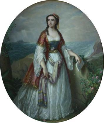 Dora d'Istria (n. 3 februarie 1828, București, Țara Românească– d. 17 noiembrie 1888, Florența, Regatul Italiei) este pseudonimul literar al prințesei Helena Kolțova-Masalskaia, născută Elena Ghica, scriitoare de origine româno-albaneză, cu scrieri în limba franceză , italiană și câteva în greacă; traducerile scrierilor sale au fost în română, greacă, engleză, germană, rusă, albaneză - Portrait of Dora d'Istria by Petre Mateescu (1876) - foto preluat de pe en.wikipedia.org