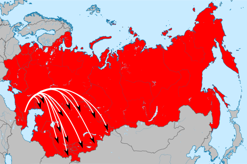 Destinations of the resettled Chechens and Ingush inside the Soviet Union - foto preluat de pe en.wikipedia.org