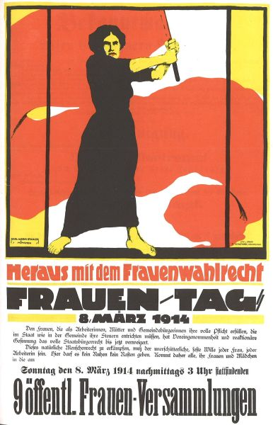 German poster for International Women's Day, March 8, 1914. This poster was banned in the German Empire - foto preluat de pe ro.wikipedia.org