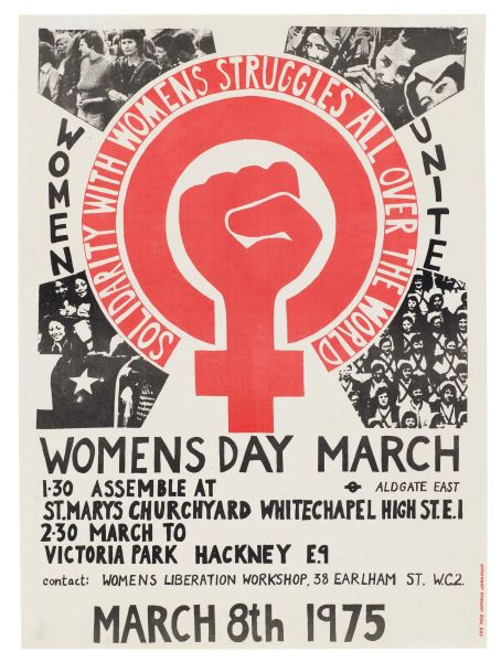 Poster for Women's Day March in London, 1975 - foto preluat de pe en.wikipedia.org