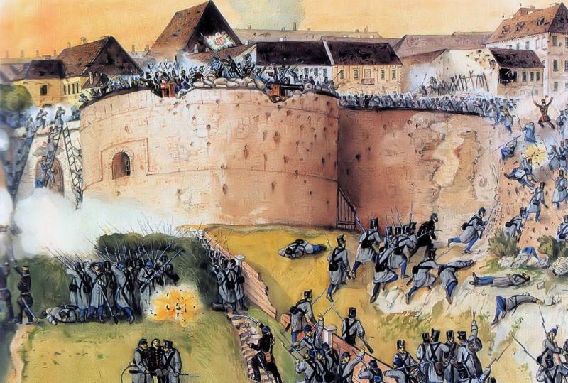 Revoluţia Maghiară din 1848 (15 martie 1848 – 4 octombrie 1849) - Recucerirea Cetăţii Budei de către armata revoluţionară maghiară. Pictură de Than Mór - foto preluat de pe ro.wikipedia.org