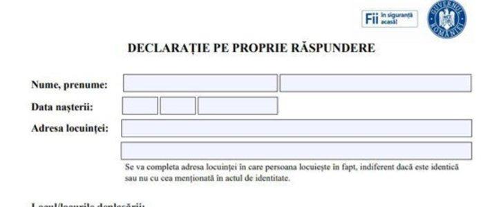 Fără semnătură olografă pe Declarația pe proprie răspundere - foto preluat de pe declic.ro