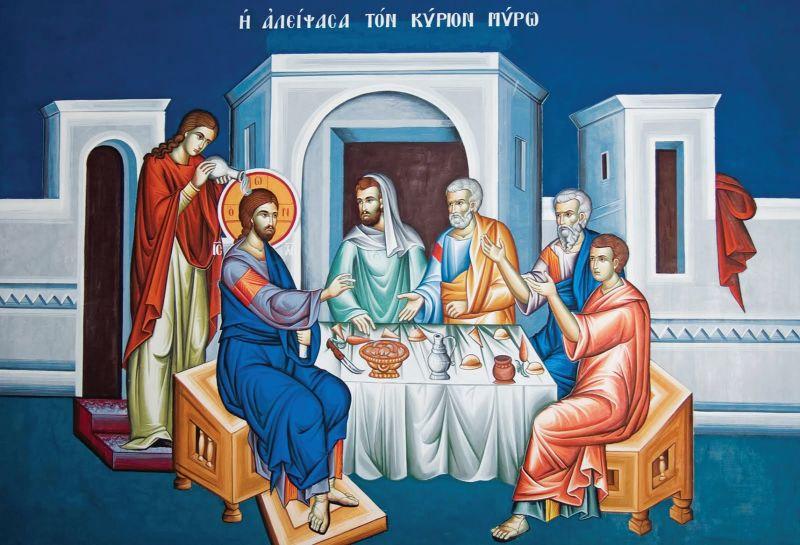 Femeia cea păcătoasă care a uns cu mir pe Domnul - foto preluat de pe ikivotos.gr