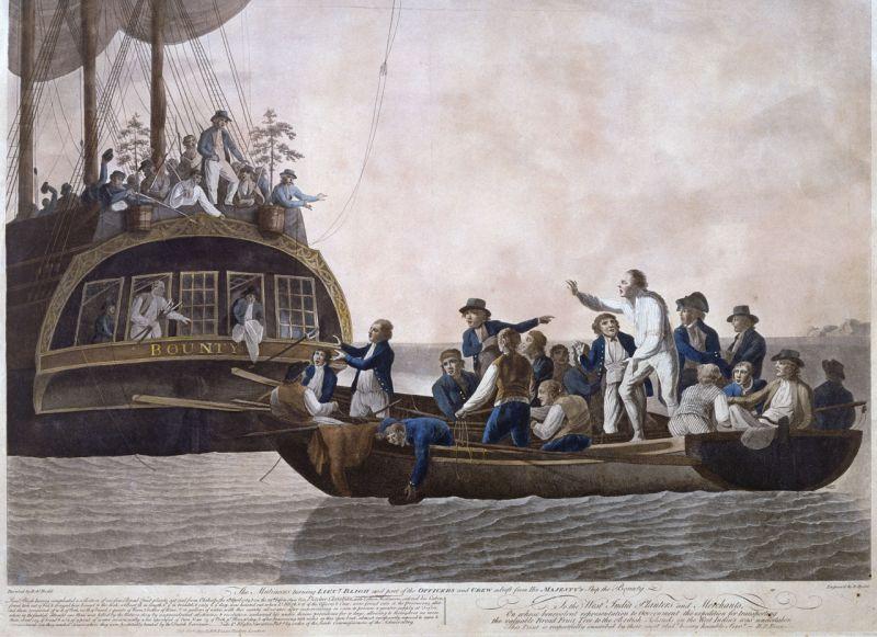 Revolta de pe Bounty (28 aprilie 1789) - Marinarii răsculaţi gonindu-l pe lt. Bligh şi pe unii ofiţeri şi membri ai echipajului de pe HMS Bounty la 29 aprilie 1789. De Robert Dodd - foto preluat de pe ro.wikipedia.org