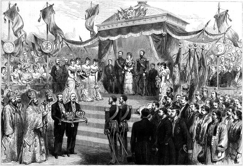 Încoronarea Regelui Carol I şi a Elisabetei (10 mai 1881) – imagine din Illustrated London News - foto preluat de pe ro.wikipedia.org