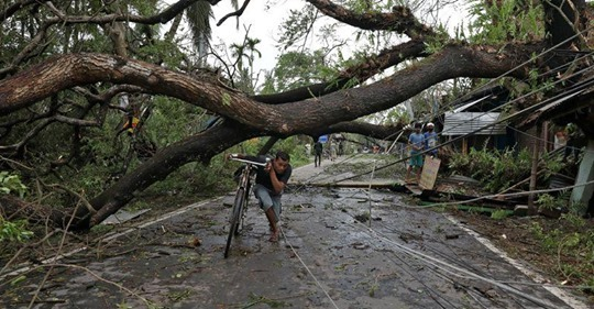 A man walks with his bicycle under an uprooted tree after Cyclone Amphan made its landfall, in South 24 Parganas district, in the eastern state of West Bengal, India, May 21, 2020. REUTERS/Rupak De Chowdhuri - foto preluat de pe www.reuters.com