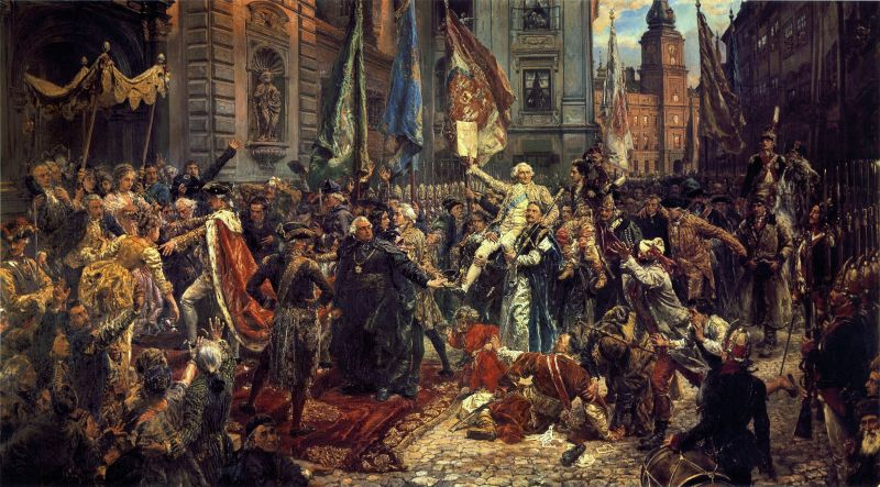 Constitution of 3 May 1791, by Matejko. Foreground: King Stanisław August (left) enters St John's Cathedral, in Warsaw, where deputies will swear to uphold the constitution. Background: the Royal Castle, where the Constitution has just been adopted - foto preluat de pe en.wikipedia.org