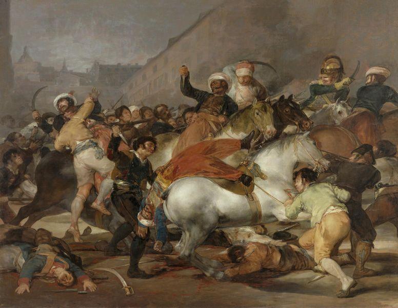 Războiul Peninsular (Războiul din peninsula iberică Parte din Războaiele napoleoniene 1803–1815) - Doi mai 1808: Șarja mamelucilor, de Francisco Goya (1814) - foto preluat de pe ro.wikipedia.org