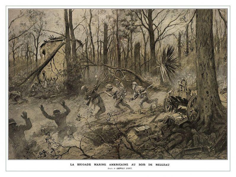 Bătălia din pădurea Belleau (1 - 26 iunie 1918) - Puşcaşi marini americani în pădurea Belleau (1918) - foto preluat de pe ro.wikipedia.org