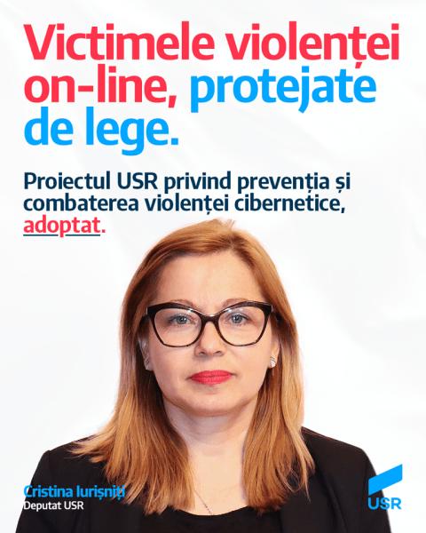Cristina Iurisniti, deputat USR, inițiatoarea proiectului de lege privind prevenirea și combaterea violenței cibernetice - foto preluat de pe www.facebook.com/USRNational