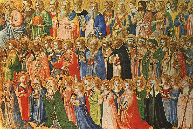 Cristos şi sfinţii săi, Fra Angelico (1419), National Gallery, Londra - foto preluat de pe ro.wikipedia.org