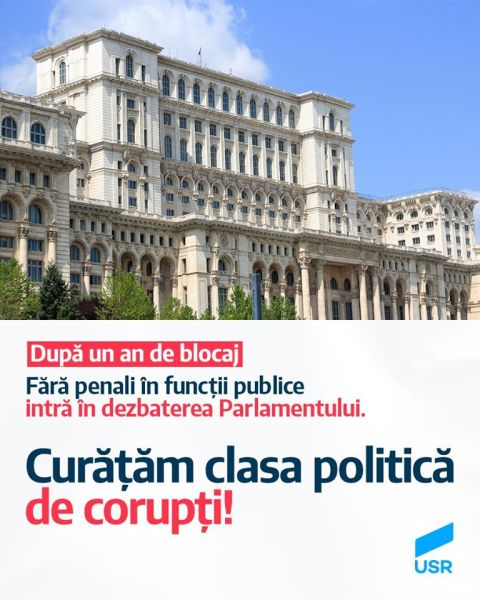 """USR: După un an de blocaj, """"Fără penali în funcții publice"""" intră în dezbaterea Parlamentului - foto preluaat de pe www.facebook.com/USRNational"""