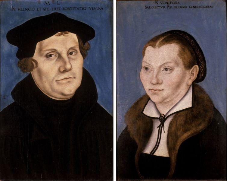 Cranach, Lucas (I) - Martin Luther and Katharina von Bora - Herzogliches Museum Gotha - foto preluat de pe commons.wikimedia.org