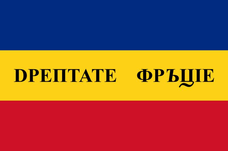 Prima variantă a steagului revoluţionar de la 1848 - foto preluat de pe ro.wikipedia.org