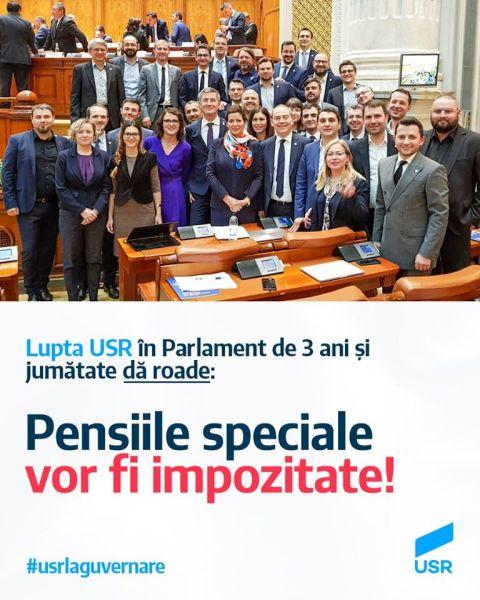 Uniunea Salvați România - USR: Vor dispărea pensiile speciale de 60-70.000 de lei pe lună!