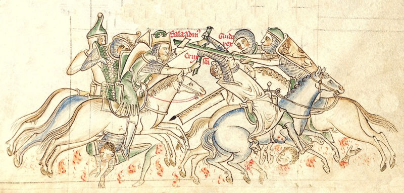 The Battle of Hattin, from a 13th-century manuscript of the Chronica Majora - foto preluat de pe en.wikipedia.org