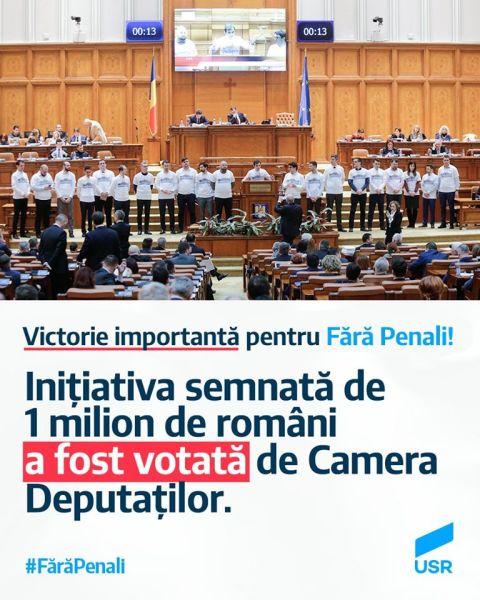Primul pas spre referendumul Fără penali! Inițiativa semnată de 1 milion de români, votată de Camera Deputaților - foto preluat de pe www.facebook.com/USRNational