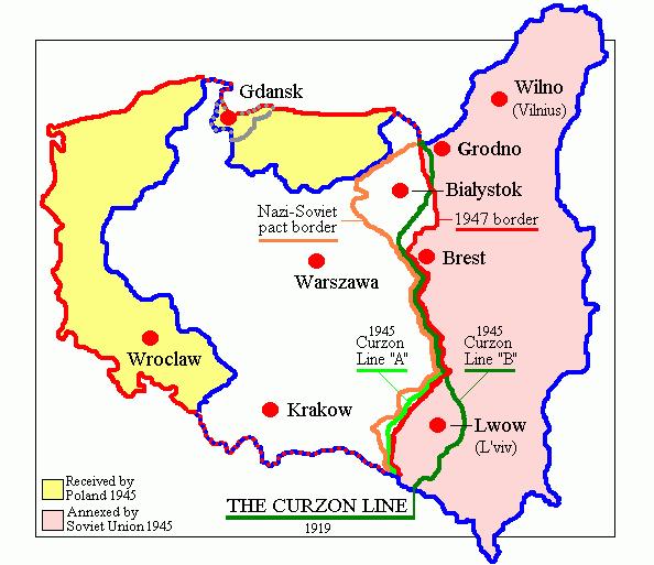 Graniţele vechi şi noi ale Poloniei. Fostele teritorii germane sunt colorate în galben - foto preluat de pe ro.wikipedia.org