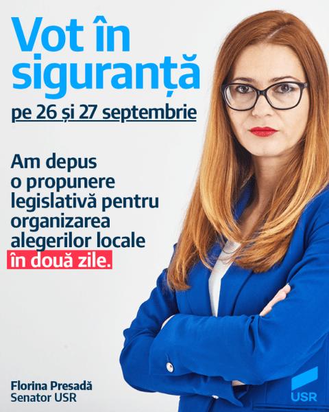 Senatoarea Florina Presadă, propunere legislativă pentru organizarea alegerilor locale în două zile - foto preluat de pe www.facebook.com/USRNational