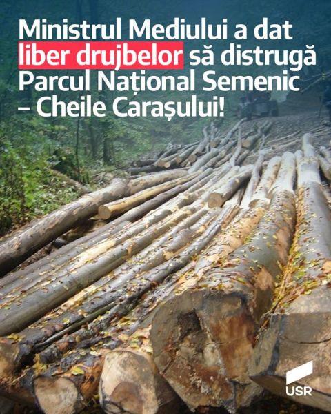Mihai Goțiu (USR): Costel Alexe a dat liber drujbelor Romsilva să distrugă Parcul Național Semenic – Cheile Carașului. Ministrul a călcat în picioare promisiunea făcută la învestire - foto preluat de pe www.facebook.com/USRNational