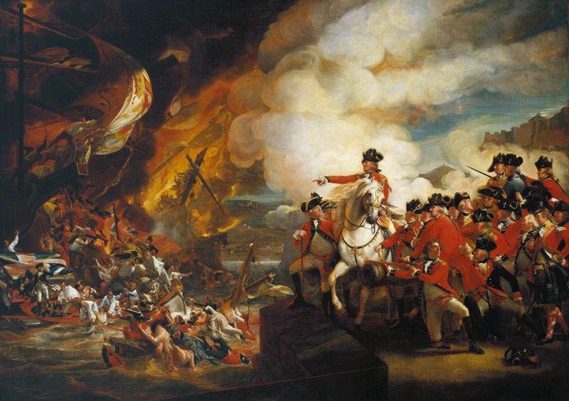 Armatele engleze la porțile Gibraltarului (4 august 1704) - foto preluat de pe ro.wikipedia.org