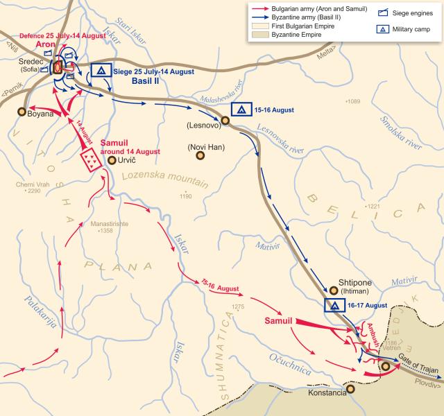 Bătălia de la Porțile lui Traian (17 august 986) - planul bătăliei - foto preluat de pe en.wikipedia.org