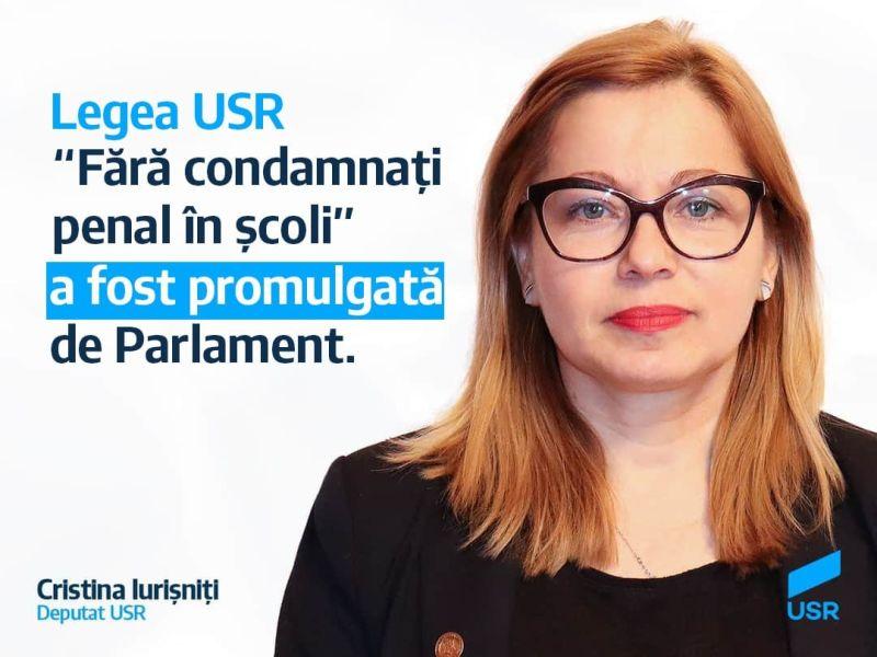 Legea USR Fără condamnați penal în școli a fost adoptată de Parlament (22 iulie 2020) - foto preluat de pe https://www.facebook.com/deputatcristinaiurisniti/