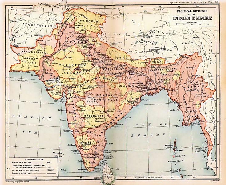 India Britanică (Rajul Britanic), 1909 - foto preluat de pe ro.wikipedia.org