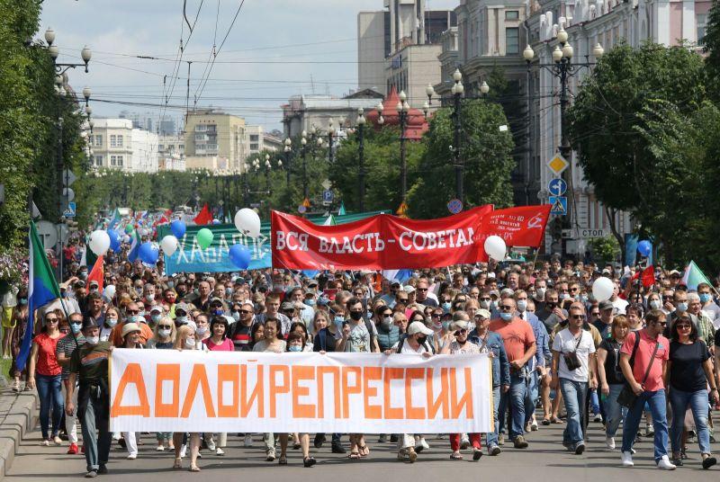 Rusia: Protestele antiguvernamentale continuă în Habarovsk (8 august 2020) - foto preluat de pe www.agerpres.ro