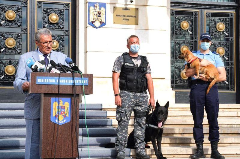 Ministrul afacerilor interne, Ion Marcel VELA, susține o declarație de presă având ca temă proiectul Ordonanței de Urgență pentru completarea unor acte normative cu incidență în protecția animalelor (25 august 2020) - foto preluat de pe www.mai.gov.ro