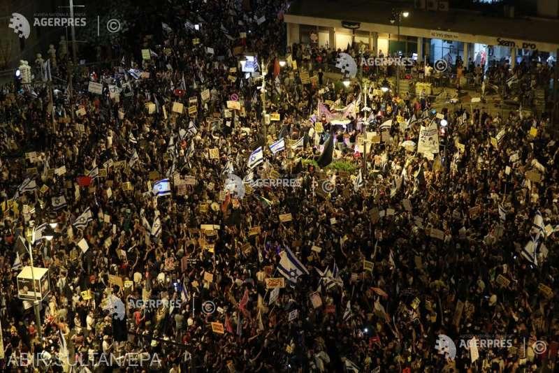 Israel: Mii de manifestanţi au ieşit din nou în stradă pentru a protesta împotriva premierului Netanyahu (2 august 2020) - foto preluat de pe www.agerpres.ro