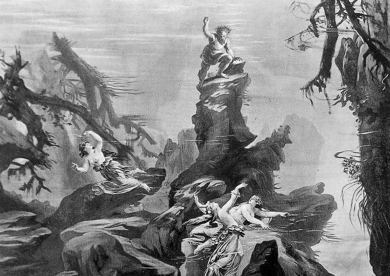 Alberich's seizure of the Rhine gold, as depicted in Scene 1 of the 1876 production - foto preluat de pe en.wikipedia.org