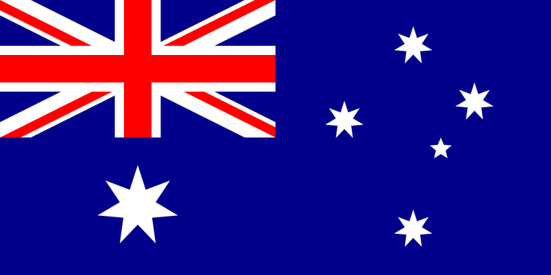 Drapelul Australiei este albastru, în colțul din stânga sus are drapelul Union Jack, iar sub el se află Steaua Comunității Națiunilor care este de culoare albă și are șapte colțuri - foto preluat de pe ro.wikipedia.org